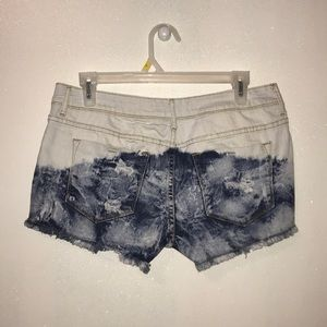 dELiA*s Shorts - White and dip-dyed blue jean shorts